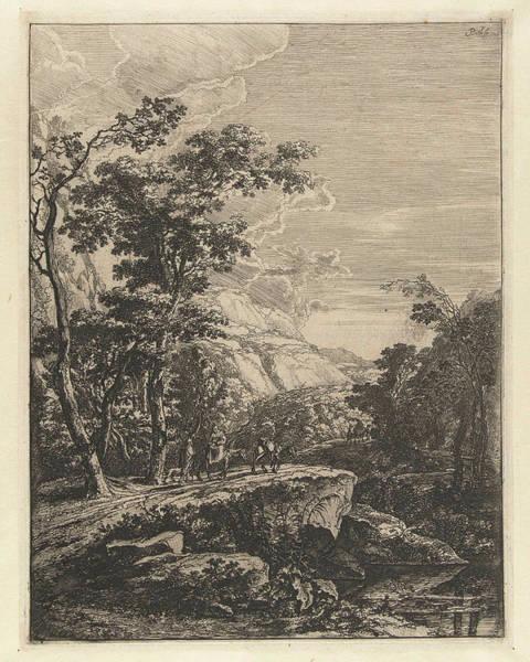 Aqua Drawing - Landscape With Woman Riding A Mule Along The Aqua Negro by Jan Both