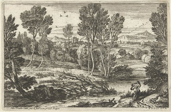 Scarf Drawing - Landscape With Woman Walking Along River by Adriaen Van Der Kabel And N. Robert