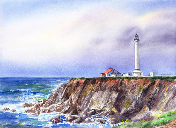 Painting - Lighthouse Point Arena California  by Irina Sztukowski