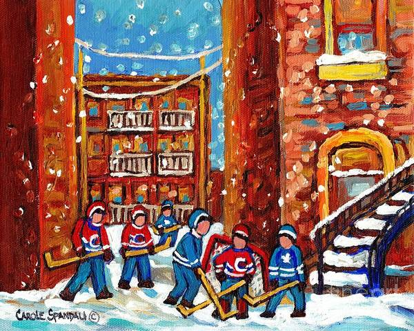 Pointe St Charles Painting - Laneway Hockey Game Montreal Paintings Winter Fun In The City Carole Spandau by Carole Spandau
