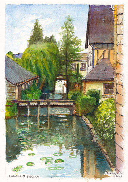 Half Timbered Painting - Langeais Stream In The Loire Valley Of France by Dai Wynn