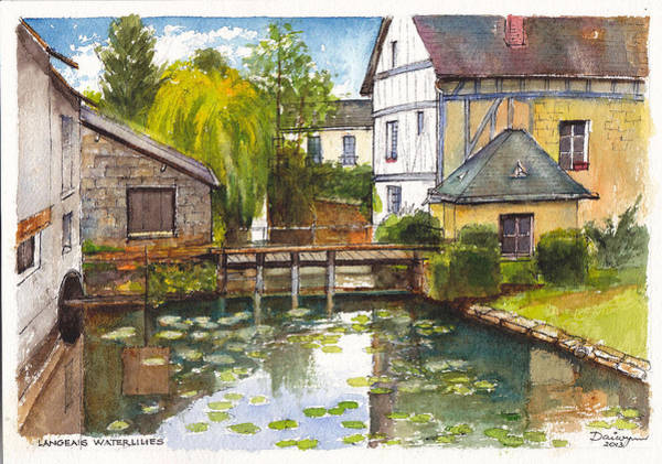 Half Timbered Painting - Langeais Waterlilies In The Loire Valley Of France by Dai Wynn