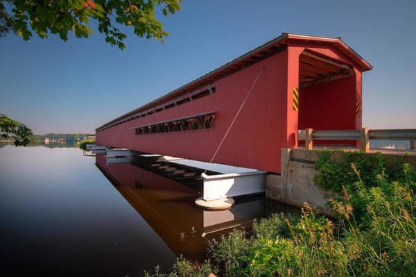 Covered Bridge Photograph - Langley Covered Bridge Michigan by Steve Gadomski