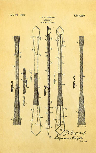 Necktie Wall Art - Photograph - Langsdorf Necktie Patent Art 1923 by Ian Monk