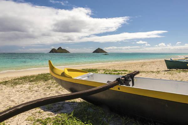 Outrigger Canoe Photograph - Lanikai Beach Outrigger 1 - Oahu Hawaii by Brian Harig