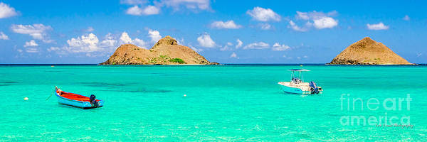 Wall Art - Photograph - Lanikai Beach Two Boats And Two Mokes 3 To 1 Aspect Ratio by Aloha Art