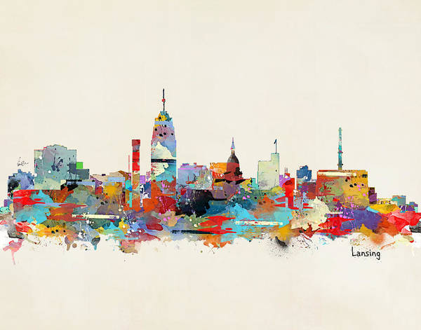 Lance Painting - Lansing Michigan Skyline by Bri Buckley