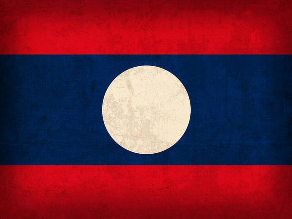 Nation Mixed Media - Laos Flag Vintage Distressed Finish by Design Turnpike