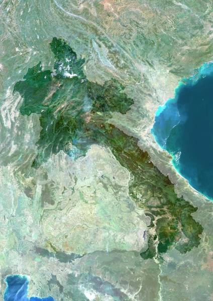 Landsat 7 Wall Art - Photograph - Laos by Planetobserver/science Photo Library