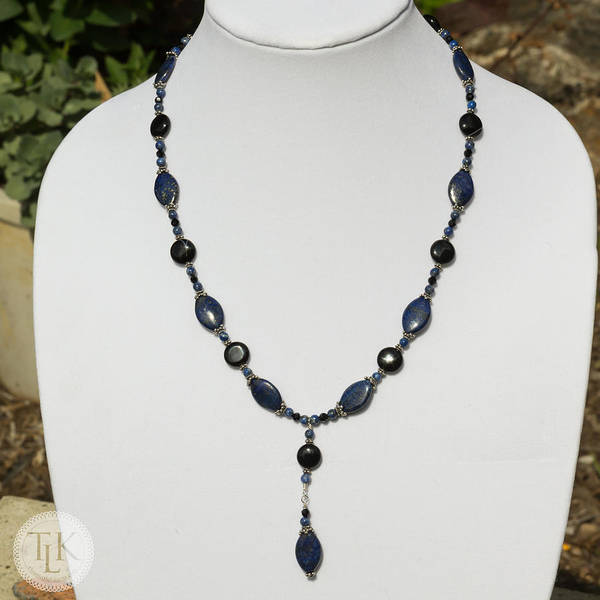 Three Little Kittens Wall Art - Jewelry - Lapis Lazuli And Black Onyx Lariat Necklace 3675 by Teresa Mucha