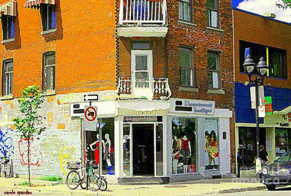 Painting - L'appartement Boutique Fashions Trendy Chic Clothing Store Ave Du Mont Royal City Scene  by Carole Spandau