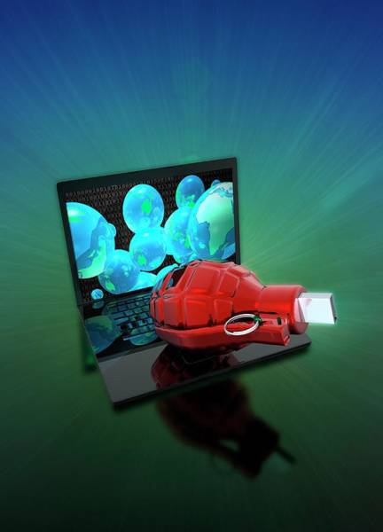 Grenade Wall Art - Photograph - Laptop With Grenade And Usb Device by Victor Habbick Visions