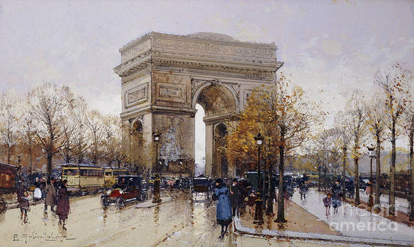 Urban Scene Painting - L'arc De Triomphe Paris by Eugene Galien-Laloue