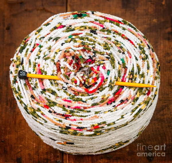 Photograph - Large Ball Of Colorful Yarn by Les Palenik