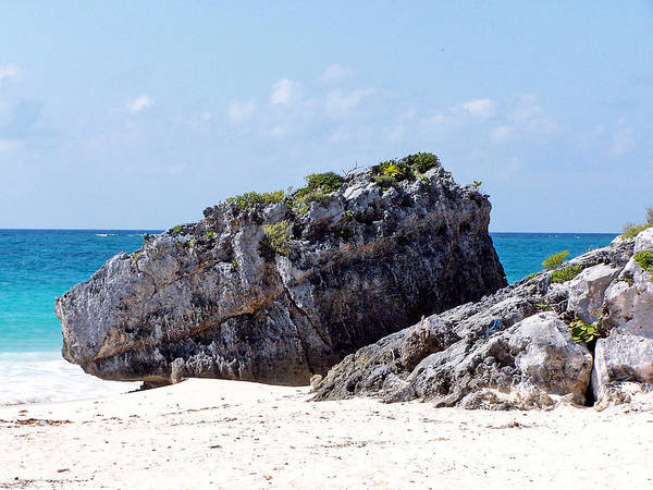 Photograph - Large Boulder On Beach At Tulum by Tom Doud