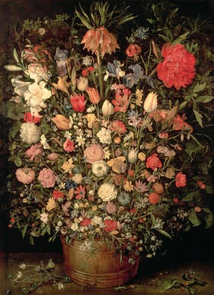 Wall Art - Photograph - Large Bouquet Of Flowers In A Wooden Tub, 1606-07, Oil On Canvas by Jan the Elder Brueghel