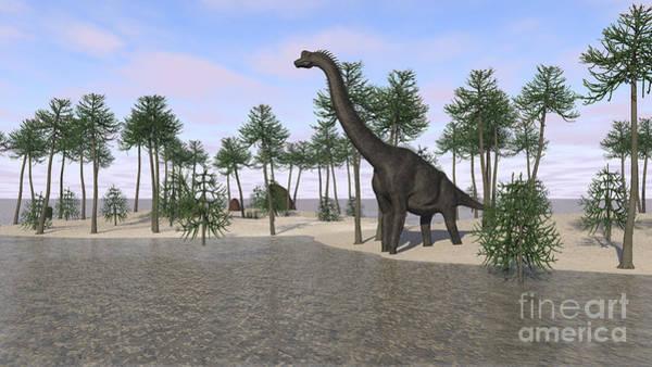 Digital Art - Large Brachiosaurus Standing by Kostyantyn Ivanyshen