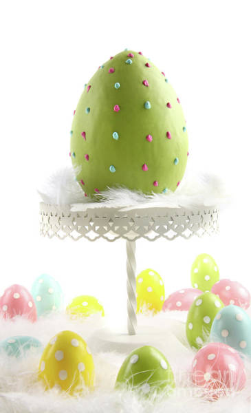 Photograph - Large Colored Easter Egg With Feathers  by Sandra Cunningham