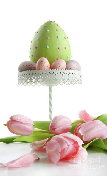 Photograph - Large Easter Egg With Pink Tulips  by Sandra Cunningham