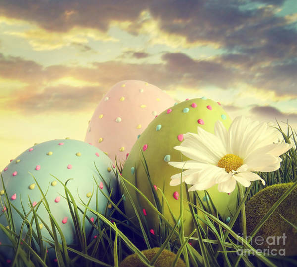 Photograph - Large Easter Eggs In The Tall Grass by Sandra Cunningham