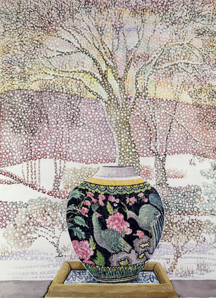 White Peacock Painting - Large Ginger Jar In Snowstorm by Lillian Delevoryas