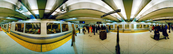 Fish Eye Lens Photograph - Large Group Of People At A Subway by Panoramic Images