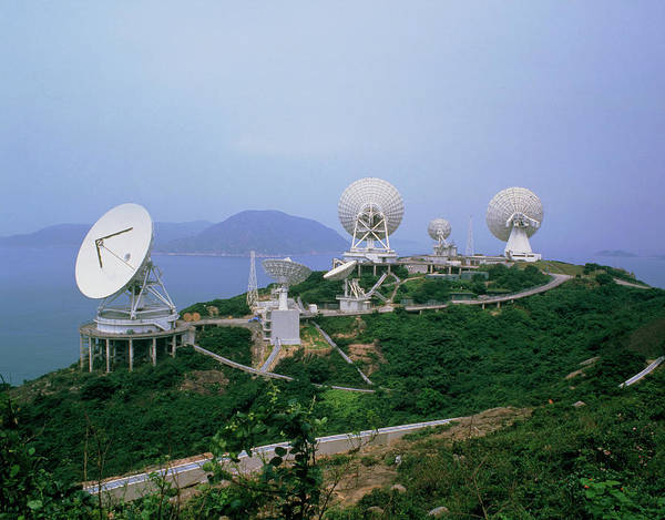 Satellite Dish Photograph - Large Intelsat Radio Dishes by Tony Buxton/science Photo Library