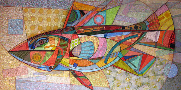 Wall Art - Painting - Large Motley Fish. 2012 by Yuri Yudaev-Racei