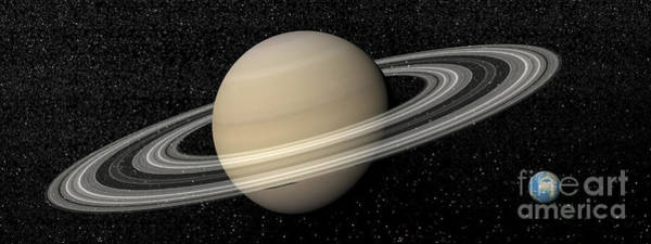 Digital Art - Large Planet Saturn And Its Rings Next by Elena Duvernay