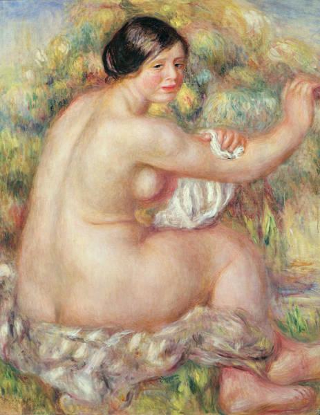 Wall Art - Painting - Large Seated Nude by Pierre Auguste Renoir