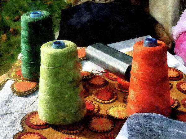 Photograph - Large Spools Of Thread by Susan Savad