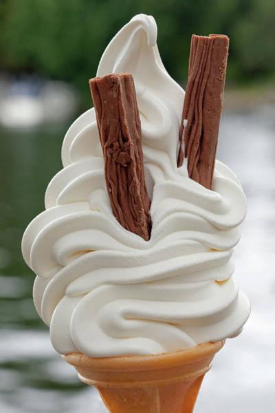 Ice Cream Photograph - Large Vanilla Ice Cream And Cone by Kim Haddon Photography
