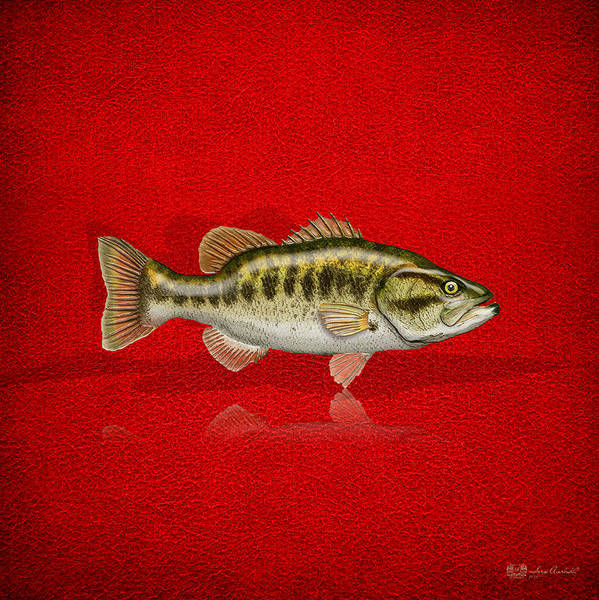 Digital Art - Largemouth Bass On Red Leather by Serge Averbukh