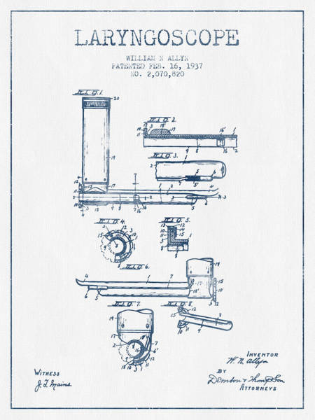 Device Digital Art - Laryngoscope Patent From 1937  - Blue Ink by Aged Pixel
