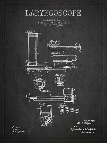 Wall Art - Digital Art - Laryngoscope Patent From 1937  - Dark by Aged Pixel