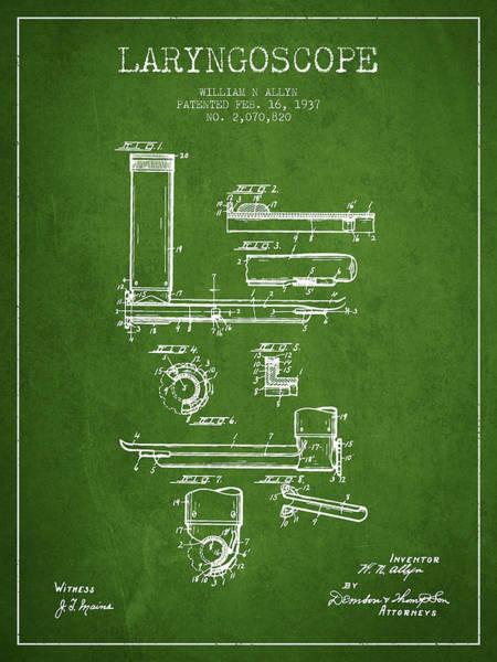 Device Digital Art - Laryngoscope Patent From 1937  - Green by Aged Pixel