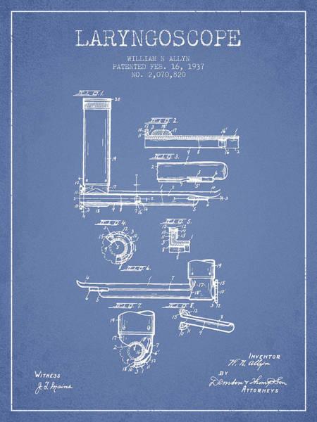 Device Digital Art - Laryngoscope Patent From 1937  - Light Blue by Aged Pixel