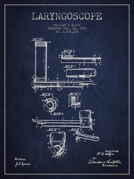 Device Digital Art - Laryngoscope Patent From 1937  - Navy Blue by Aged Pixel