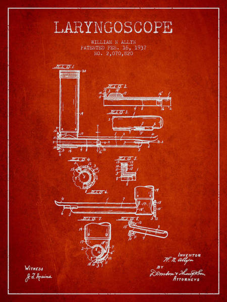 Device Digital Art - Laryngoscope Patent From 1937  - Red by Aged Pixel