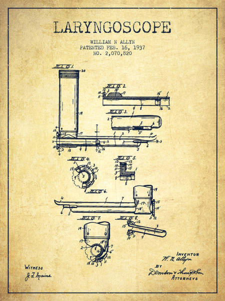 Device Digital Art - Laryngoscope Patent From 1937  - Vintage by Aged Pixel