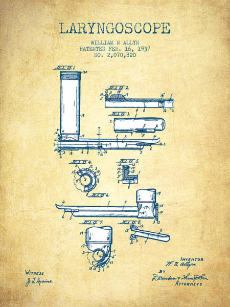 Wall Art - Digital Art - Laryngoscope Patent From 1937  - Vintage Paper by Aged Pixel