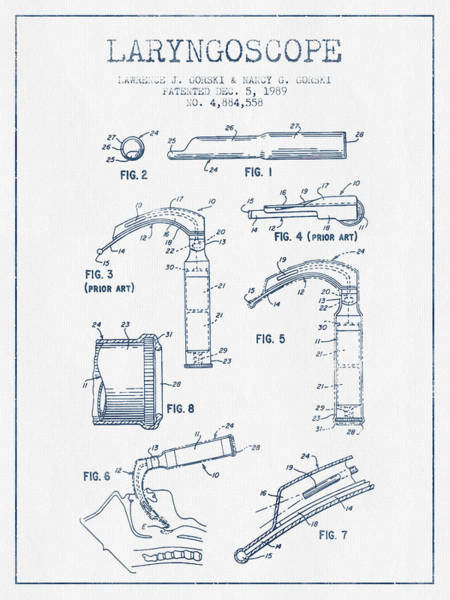 Device Digital Art - Laryngoscope Patent From 1989  - Blue Ink by Aged Pixel