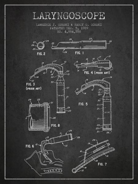 Wall Art - Digital Art - Laryngoscope Patent From 1989 - Dark by Aged Pixel