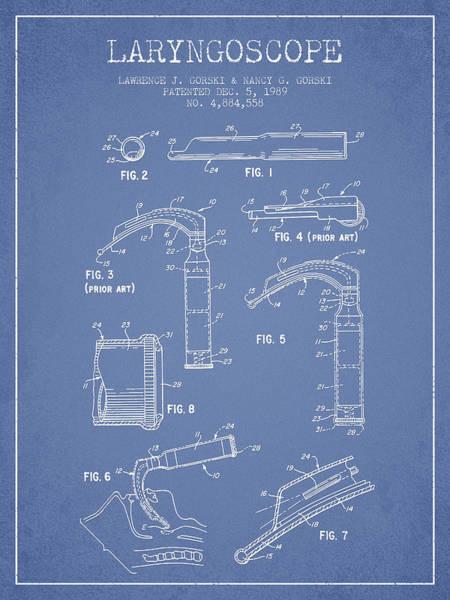 Device Digital Art - Laryngoscope Patent From 1989 - Light Blue by Aged Pixel