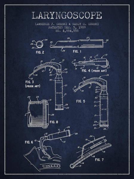 Device Digital Art - Laryngoscope Patent From 1989 - Navy Blue by Aged Pixel