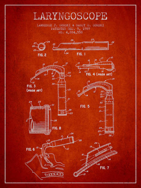 Device Digital Art - Laryngoscope Patent From 1989 - Red by Aged Pixel