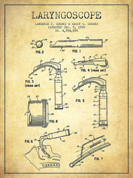 Device Digital Art - Laryngoscope Patent From 1989 - Vintage by Aged Pixel