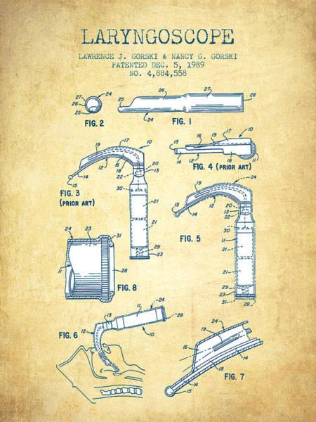 Device Digital Art - Laryngoscopy Patent From 1964 - Vintage Paper by Aged Pixel