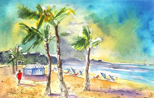 Painting - Las Canteras Beach In Las Palmas De Gran Canaria by Miki De Goodaboom