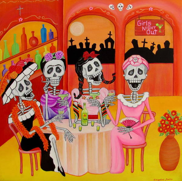 Wall Art - Painting - Las Comadres by Evangelina Portillo
